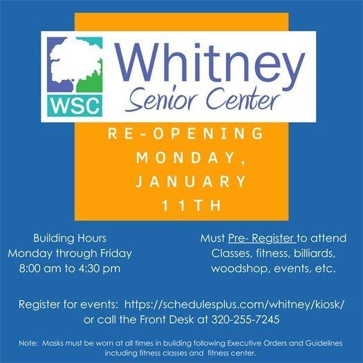 Whitney Center reopening